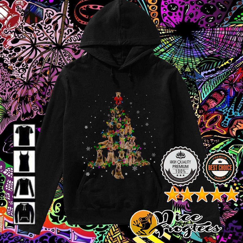 Airedale Terrier Light Christmas tree Hoodie
