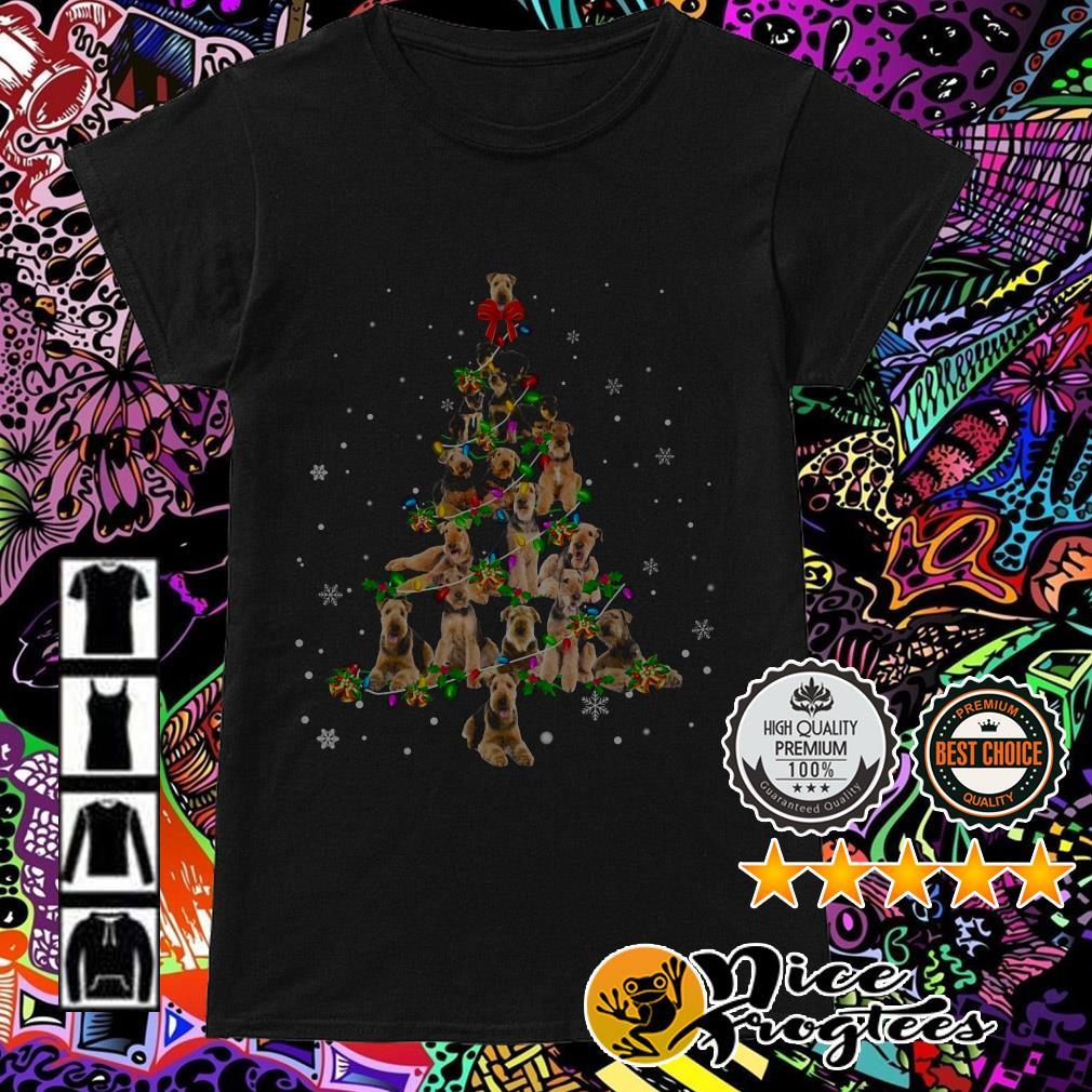 Airedale Terrier Light Christmas tree Ladies Tee