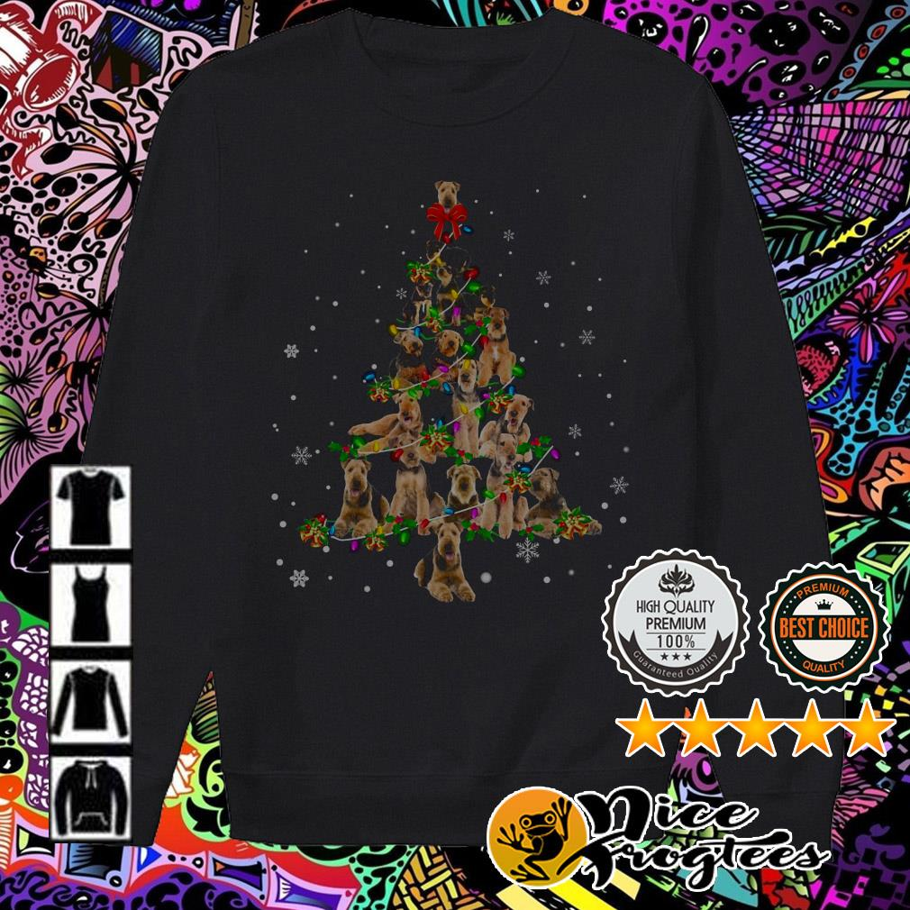 Airedale Terrier Light Christmas tree Sweater