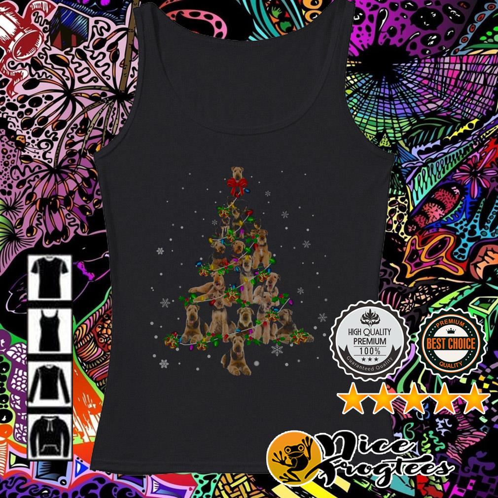 Airedale Terrier Light Christmas tree Tank top