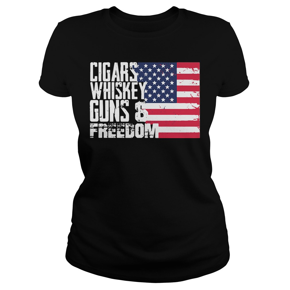 America Independence Day - Cigars Whiskey Guns and Freedom Ladies Tee