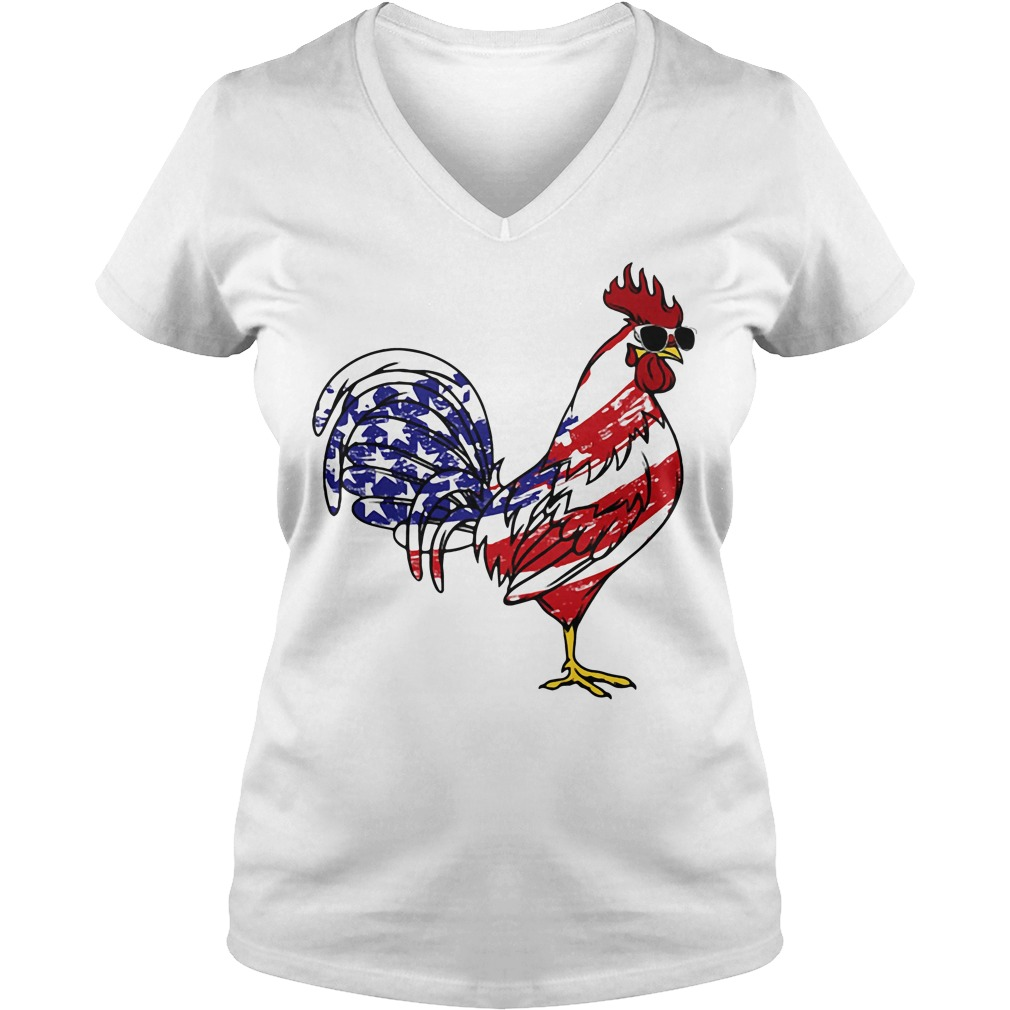 American Flag Chicken Independence Day V-neck t-shirt