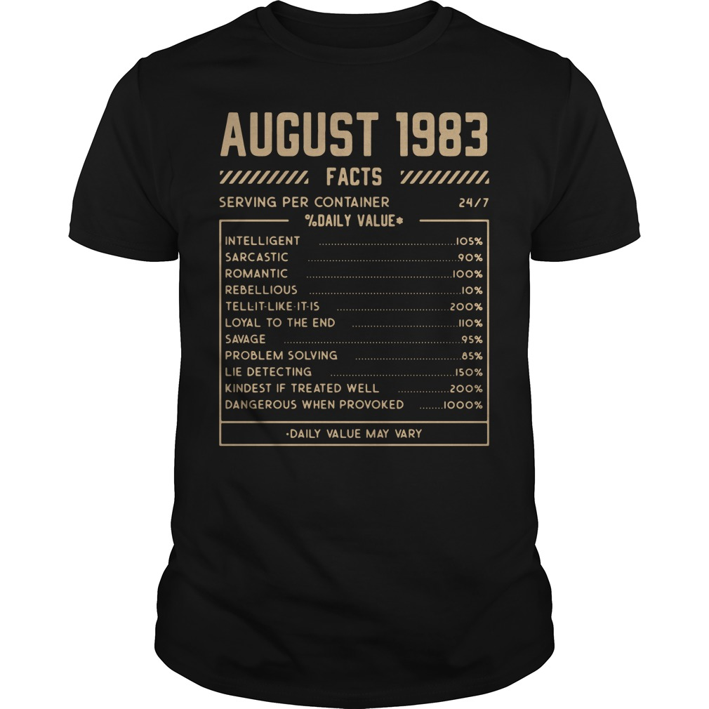 August 1983 facts serving per container shirt