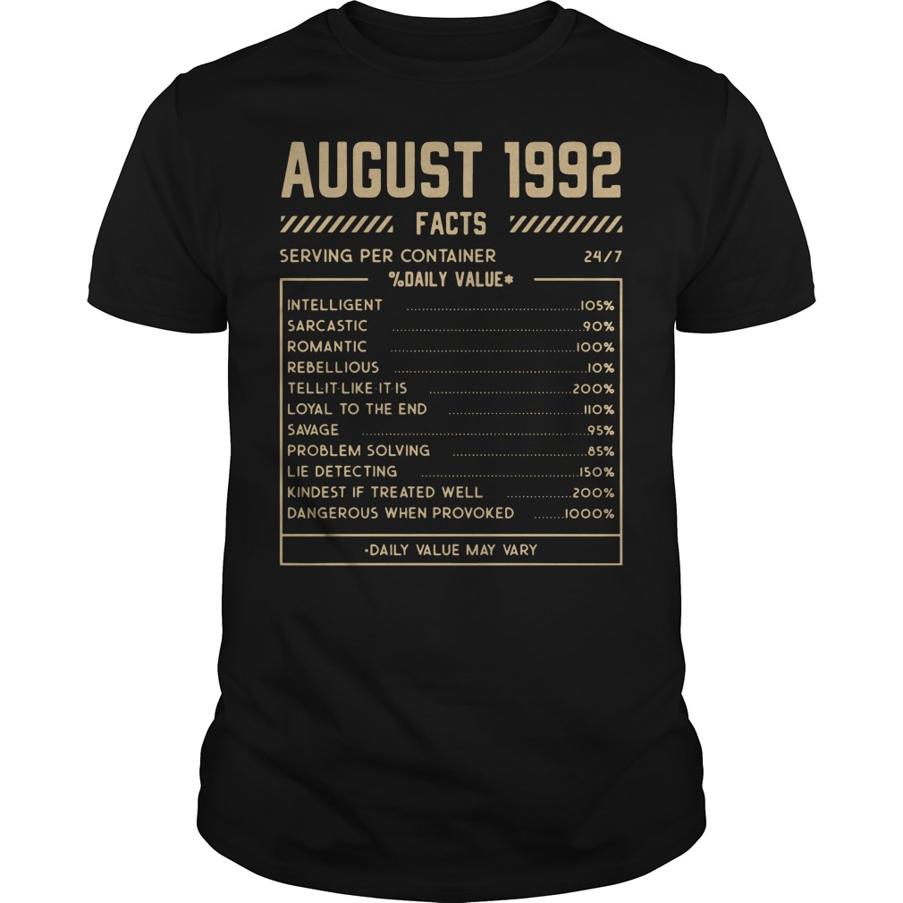 August 1992 facts serving per container shirt
