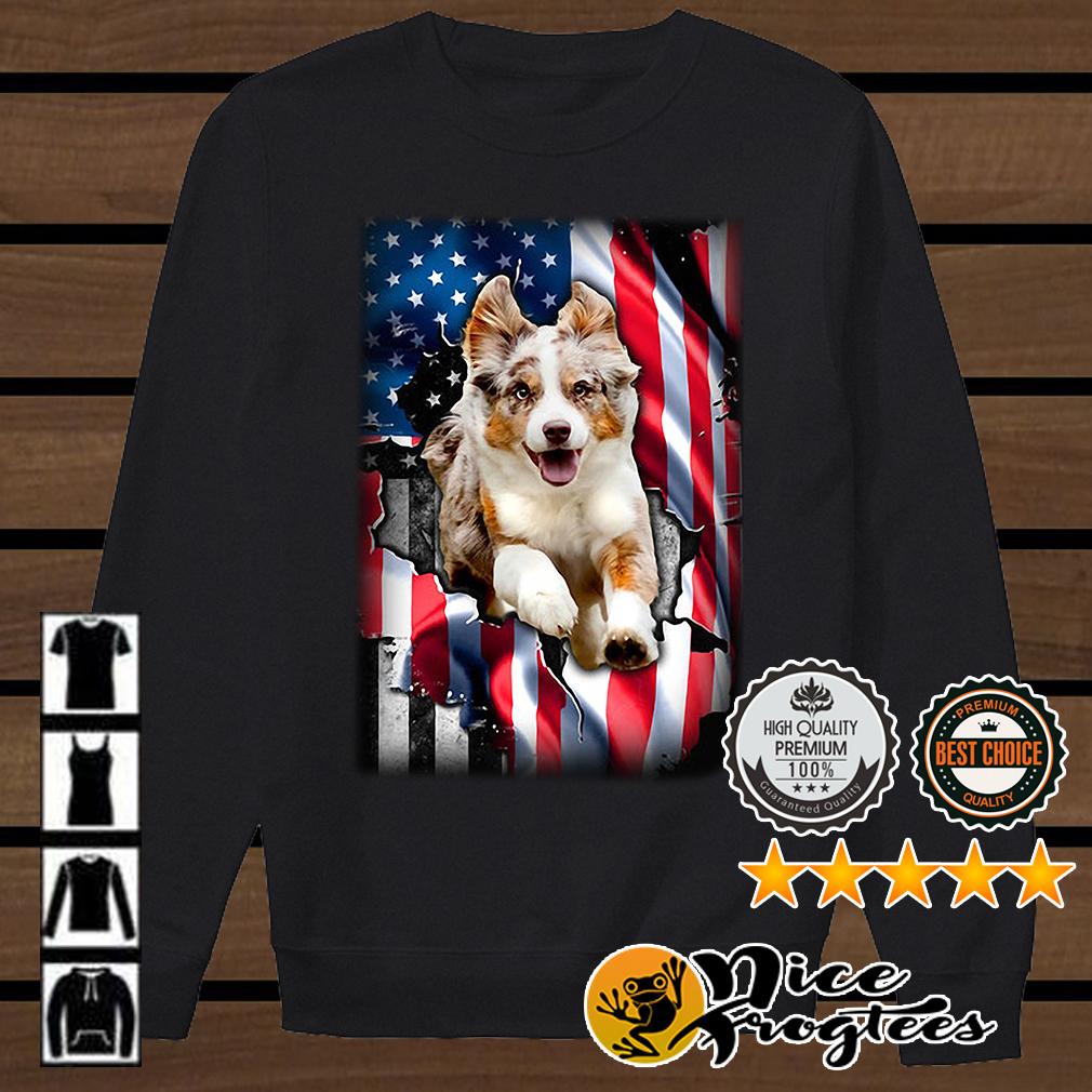 Australian Shepherd Aussie inside American flag shirt