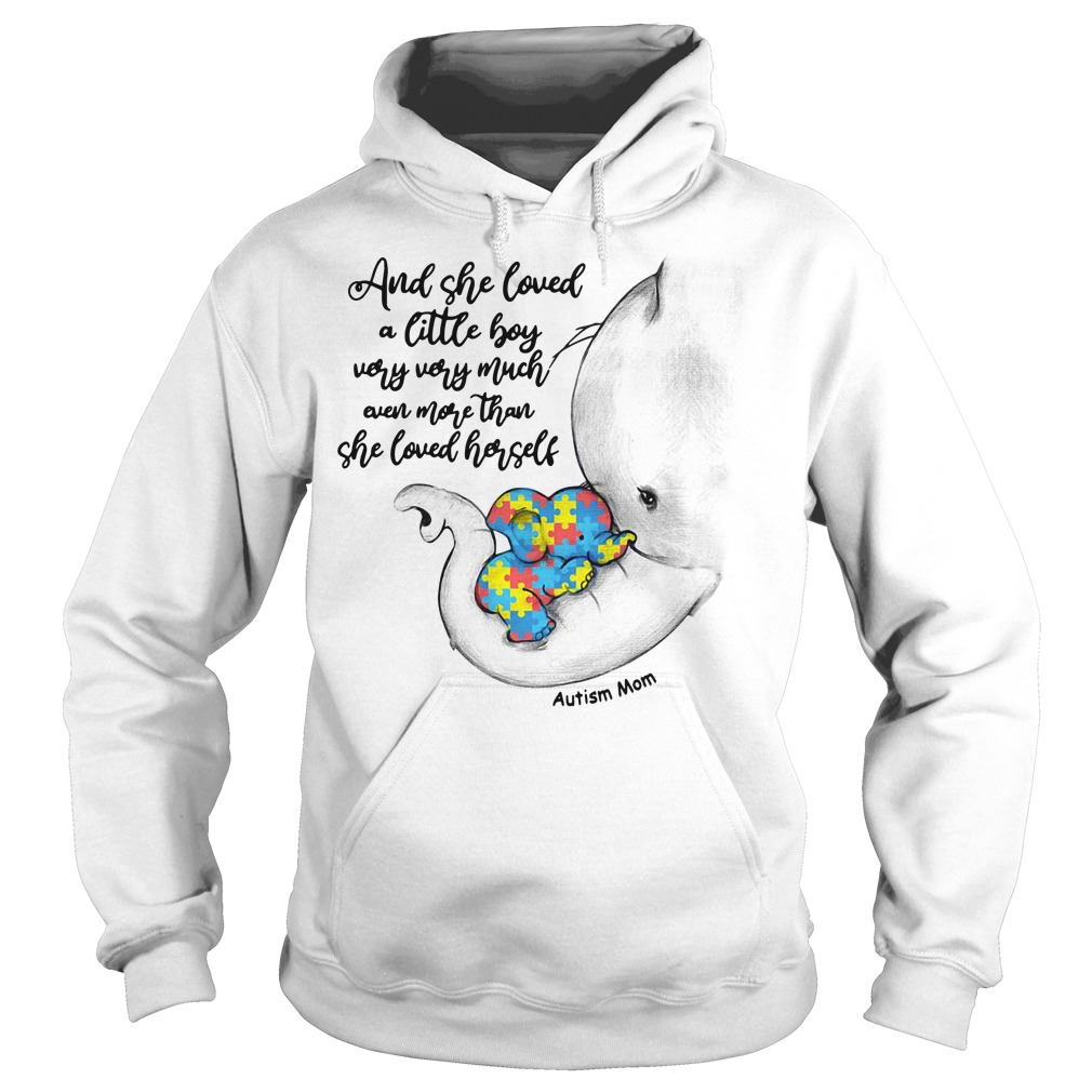 Autism elephant mom and baby and she loved a little boy very very much Hoodie