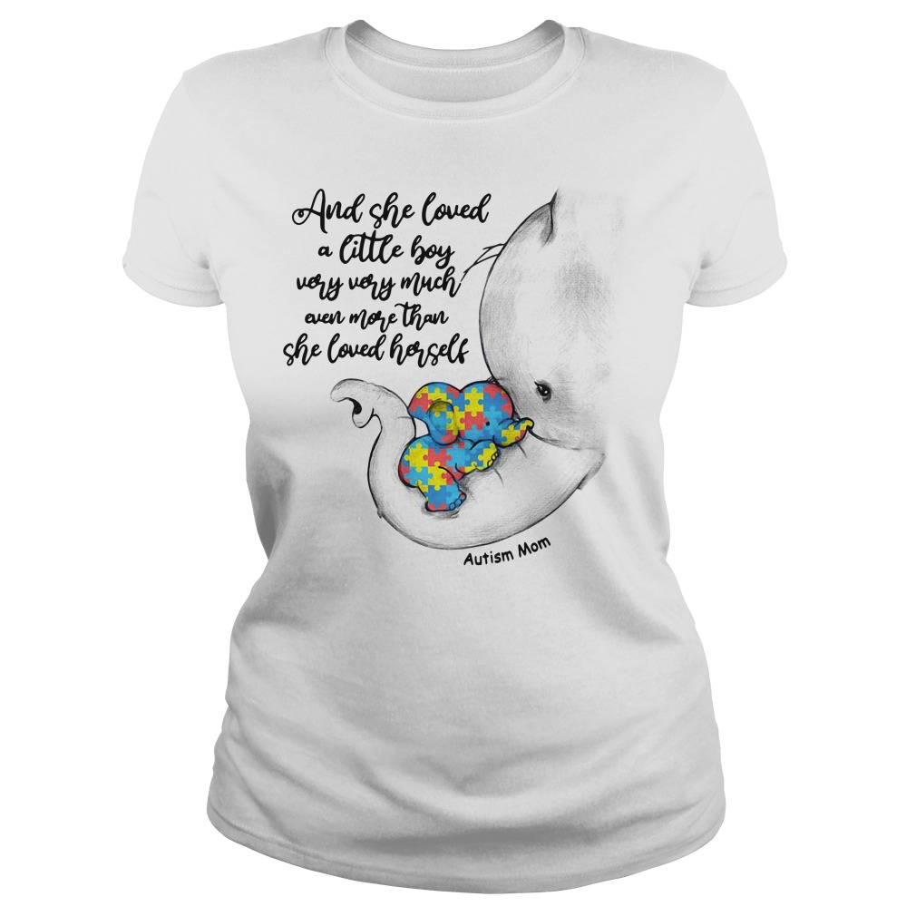 Autism elephant mom and baby and she loved a little boy very very much Ladies tee