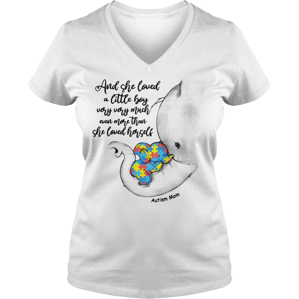 Autism elephant mom and baby and she loved a little boy very very much V-neck t-shirt