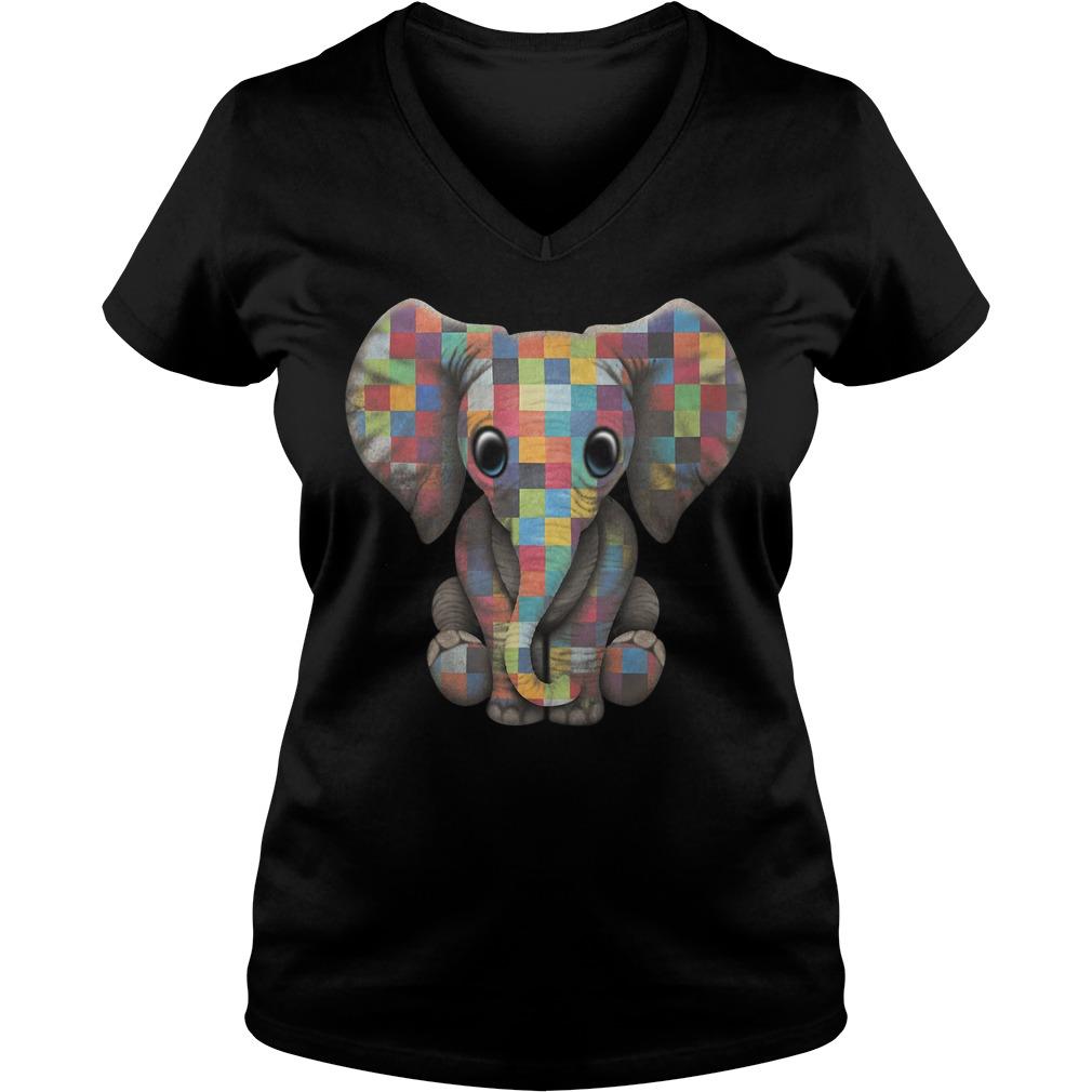 Autism elephant V-neck t-shirt