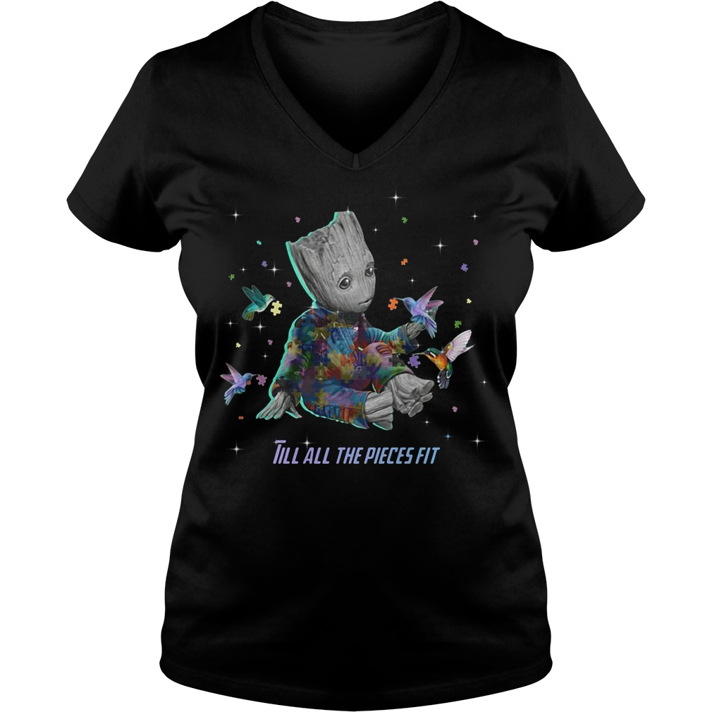 Autism Groot till all the pieces fit V-neck t-shirt