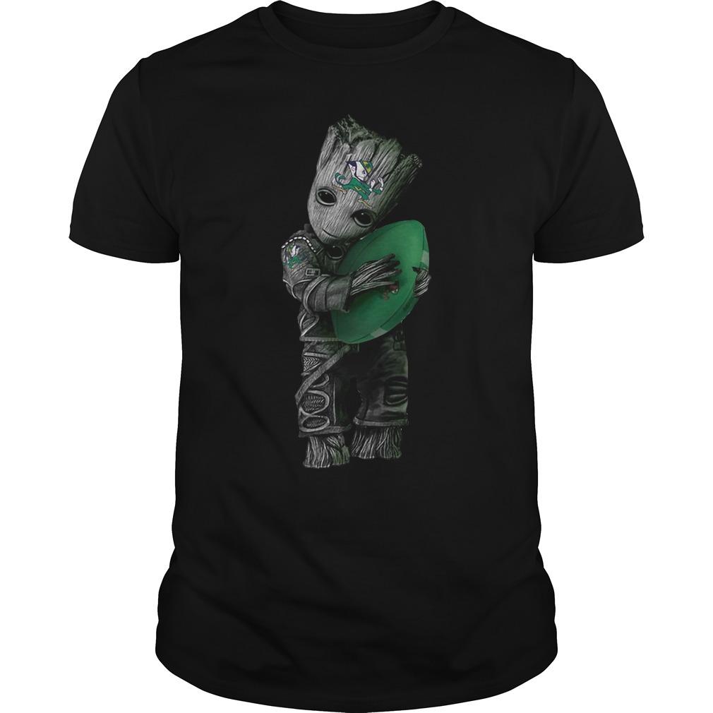 Baby Groot hug Notre Dame Fighting Irish shirt