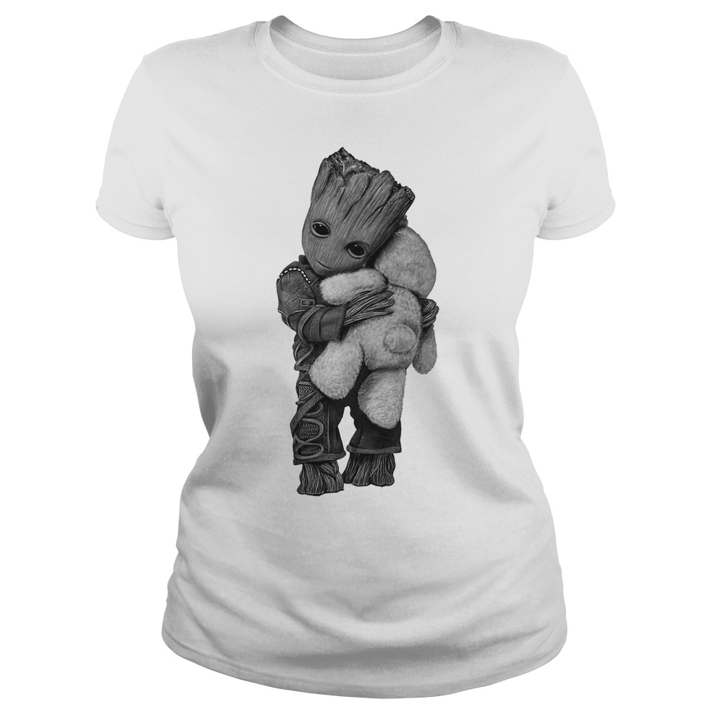 Baby Groot hug Teddy Bear Ladies tee