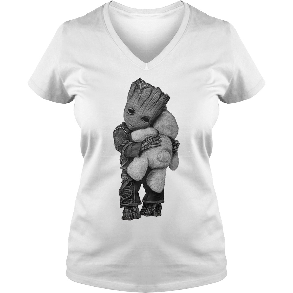 Baby Groot hug Teddy Bear V-neck t-shirt