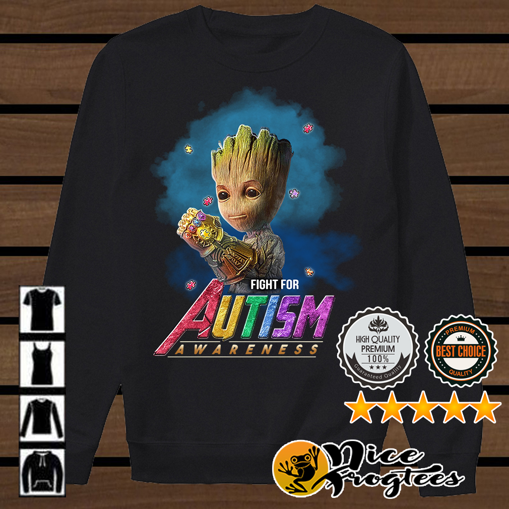 Baby Groot Infinity Gauntlet fight for Autism awareness Marvel Avengers Endgame shirt