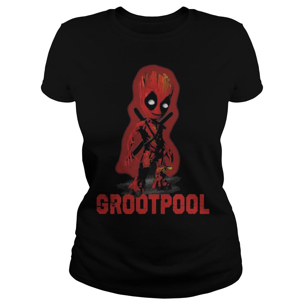 Baby Grootpool baby Groot and deadpool Ladies tee