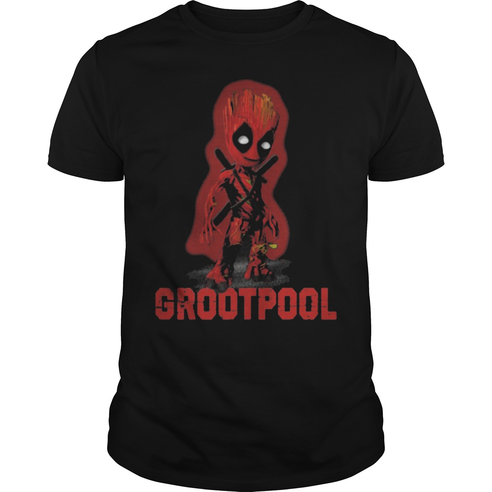 Baby Grootpool baby Groot and deadpool shirt