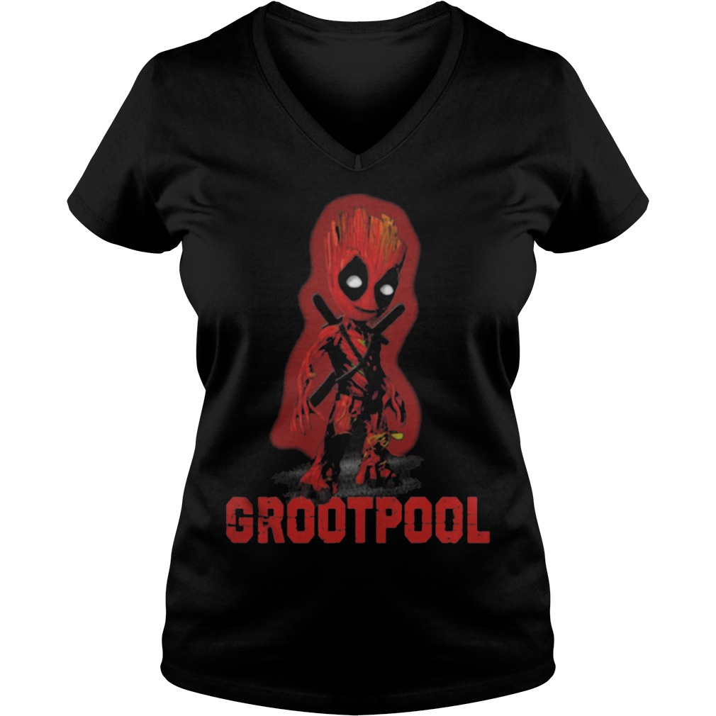 Baby Grootpool baby Groot and deadpool V-neck t-shirt
