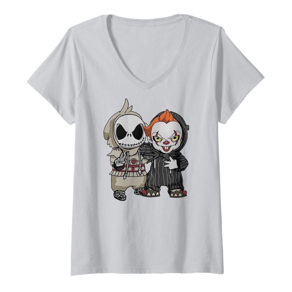 Baby Jack Skellington and Pennywise Halloween V-neck T-shirt