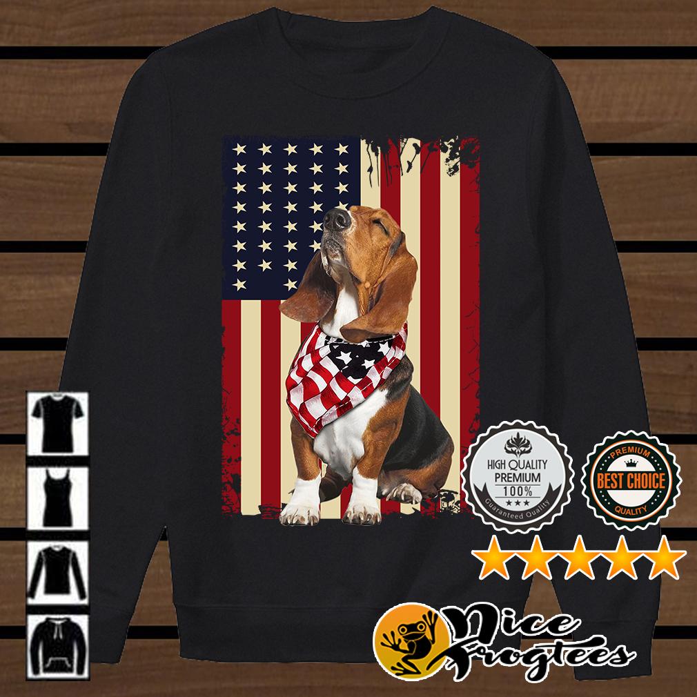 Basset Hound American flag shirt
