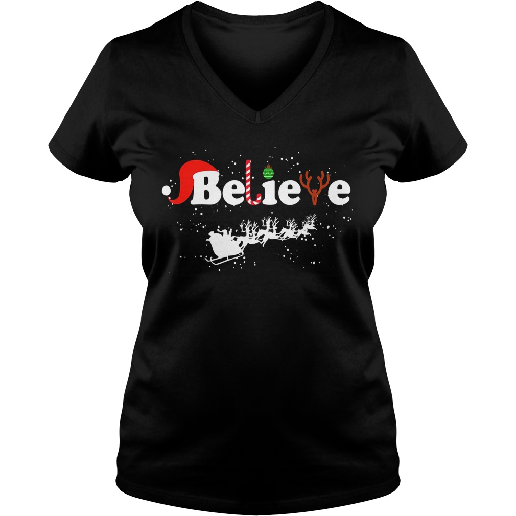 Believe in Santa Claus Christmas V-neck t-shirt