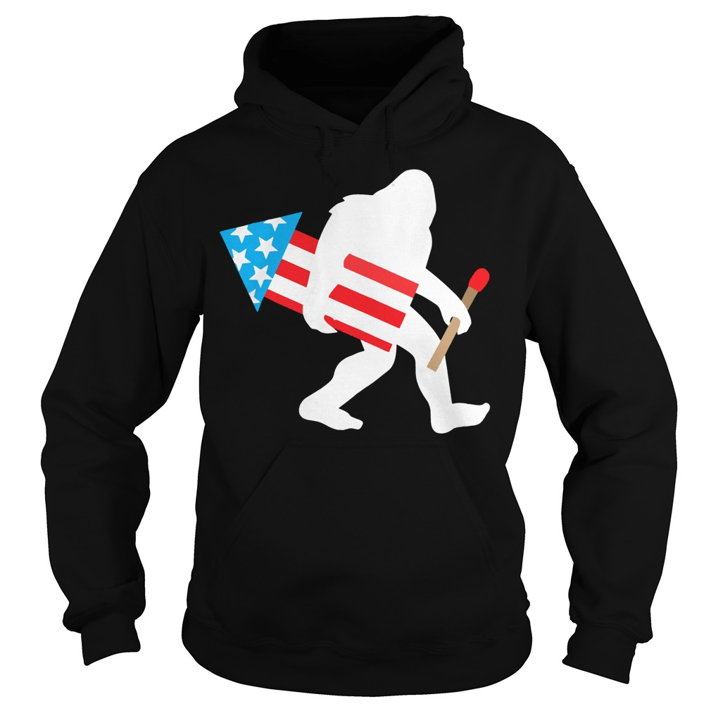 Bigfoot Fireworks Funny Cute Sasquatch 4th of July Hoodie