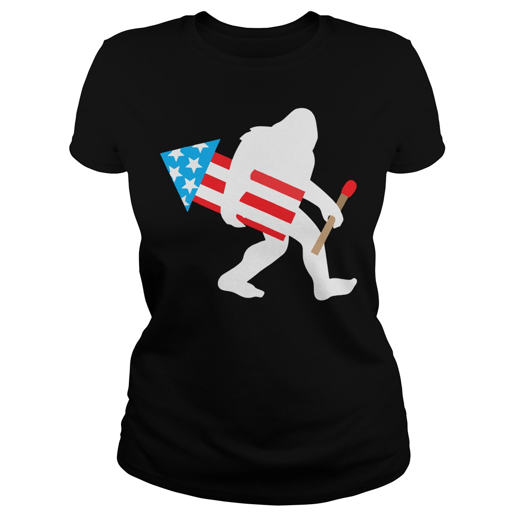 Bigfoot Fireworks Funny Cute Sasquatch 4th of July Ladies tee