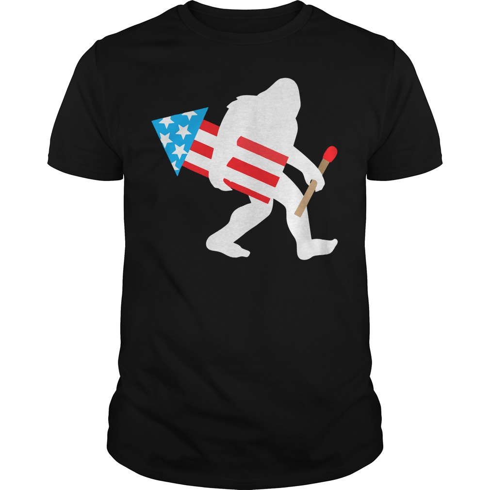 Bigfoot Fireworks Funny Cute Sasquatch 4th of July shirt