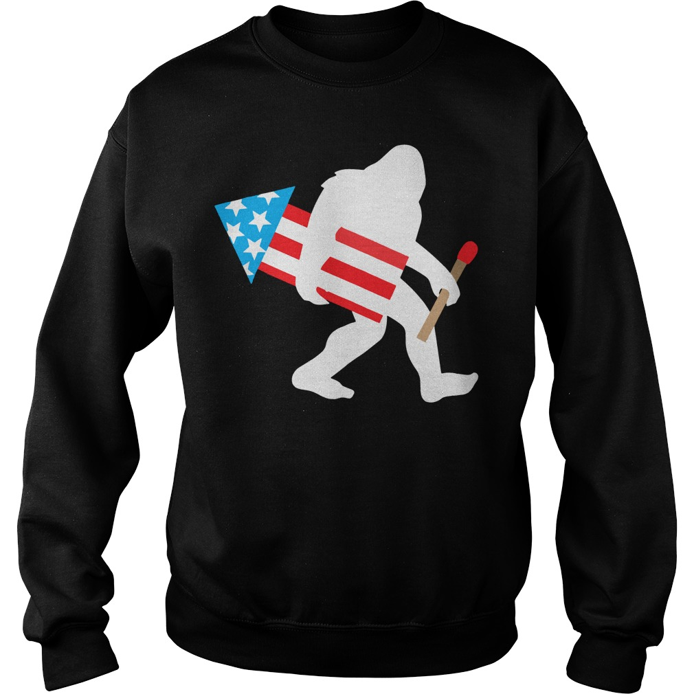 Bigfoot Fireworks Funny Cute Sasquatch 4th of July Sweater