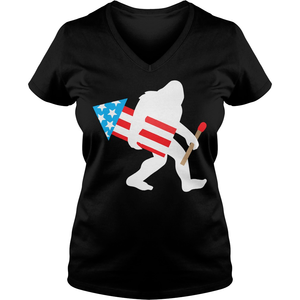Bigfoot Fireworks Funny Cute Sasquatch 4th of July V-neck t-shirt