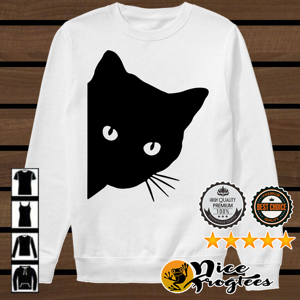 Black cat face watching shirt