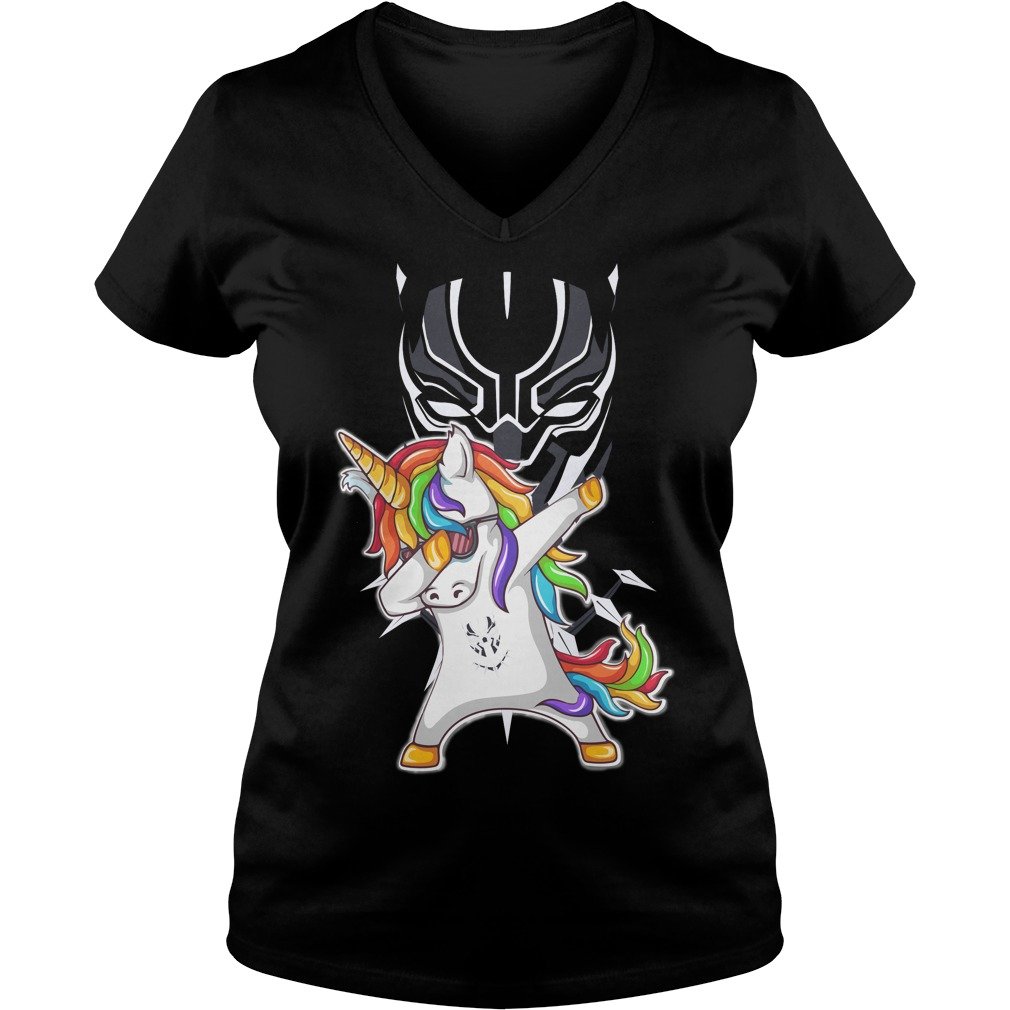 Black Panther Unicorn Dabbing V-neck t-shirt