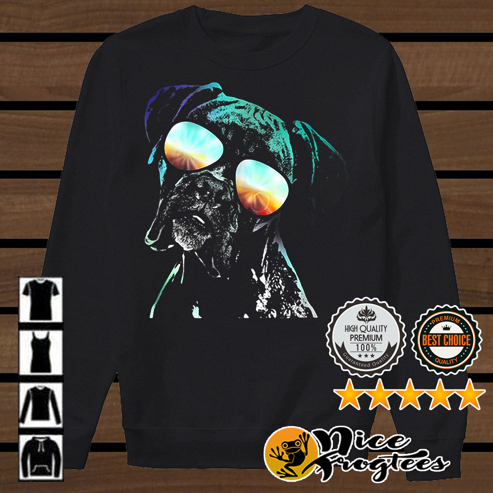 Boxer wearing glasses neon dog shirt