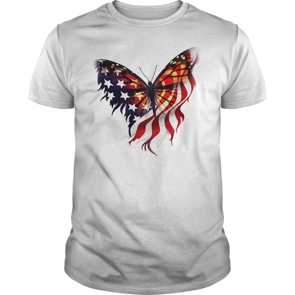 Butterfly American Flag Independence Day Guys shirt