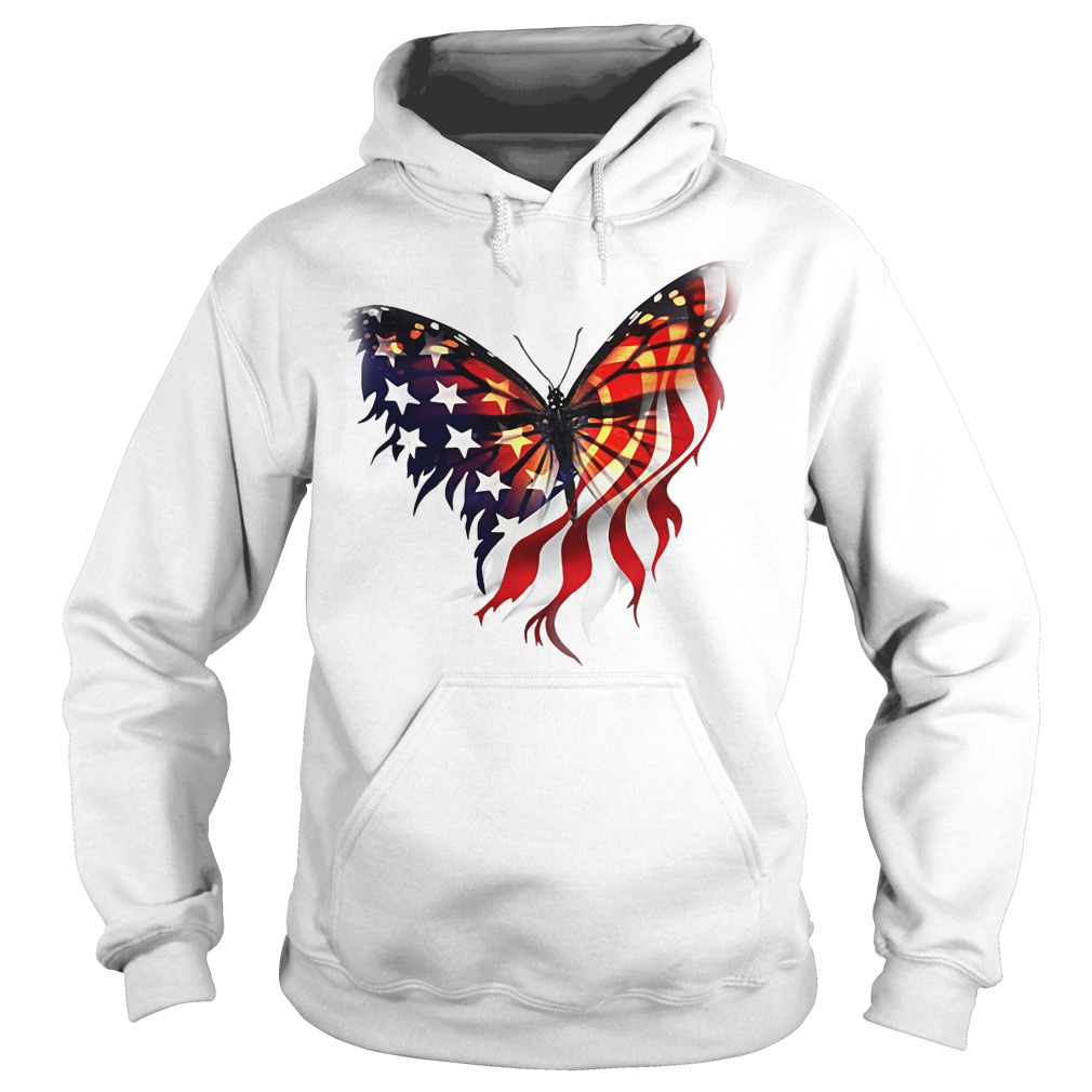 Butterfly American Flag Independence Day Hoodie