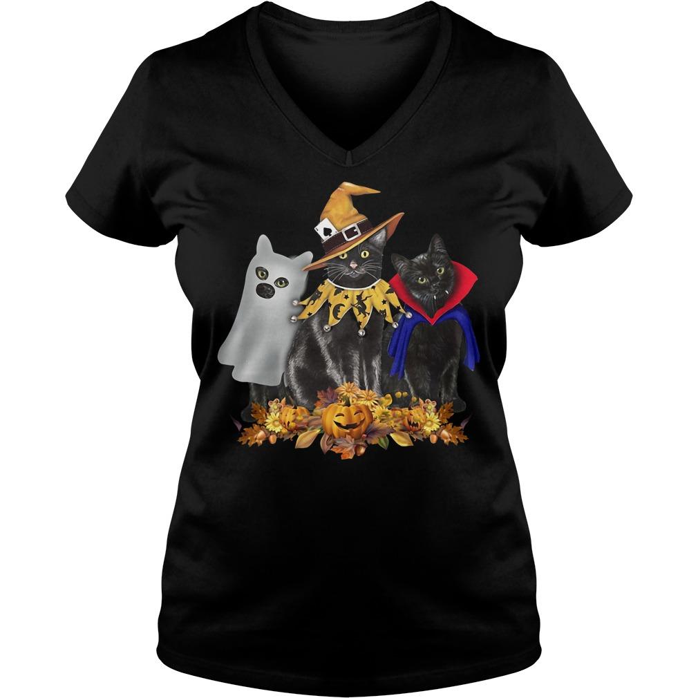 Cat back halloween flowers V-neck T-shirt