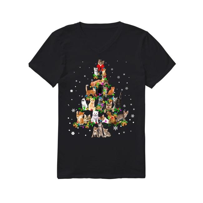 Cat tree Christmas V-neck T-shirt