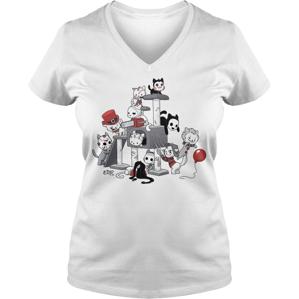Cats horror Halloween V-neck T-shirt