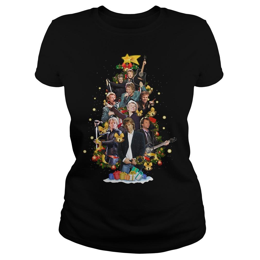 Christmas Jon Bon Jovi Christmas tree Ladies tee