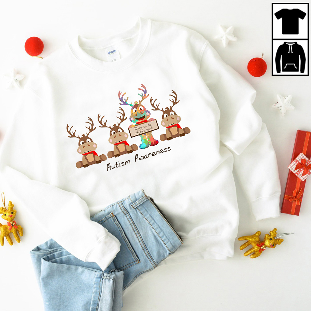 Christmas Reindeer Dane to be different autism awareness sweater