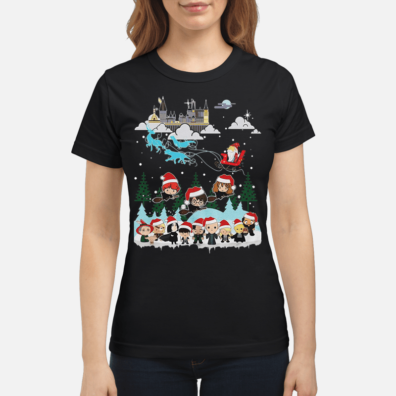 Christmas Santa Albus Dumbledore Sleigh Harry Potter Ladies tee