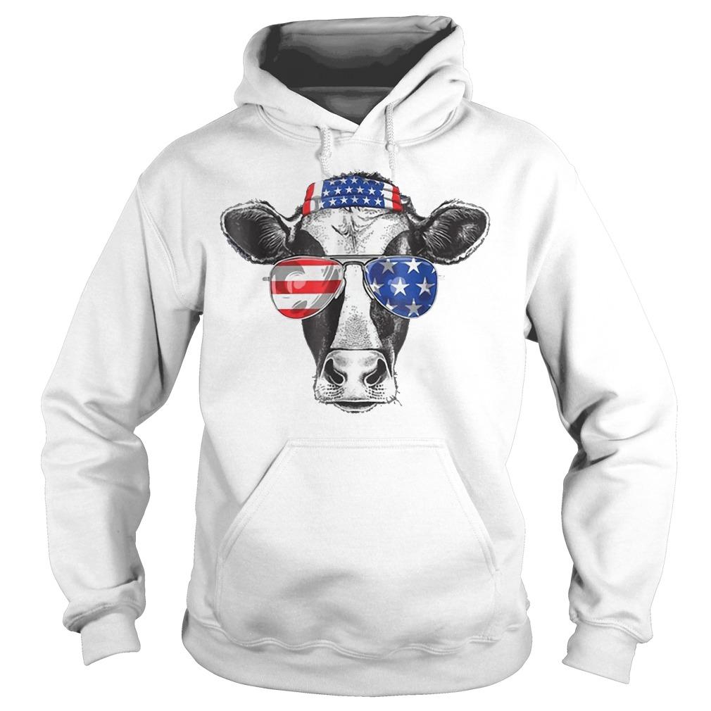 Cow 4th of July American Flag Hoodie