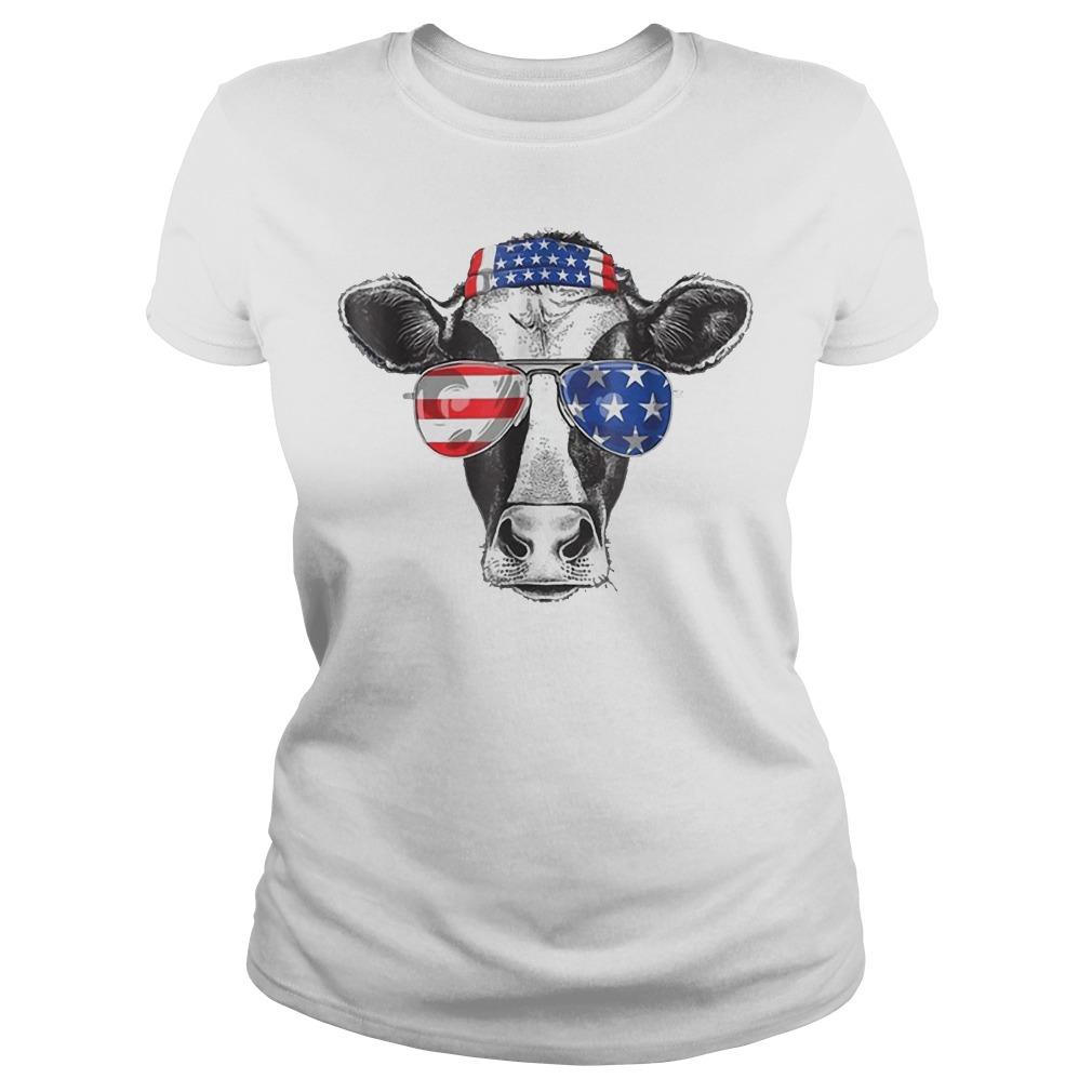 Cow 4th of July American Flag Ladies tee