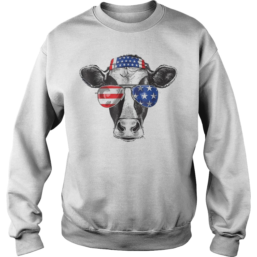 Cow 4th of July American Flag Sweater