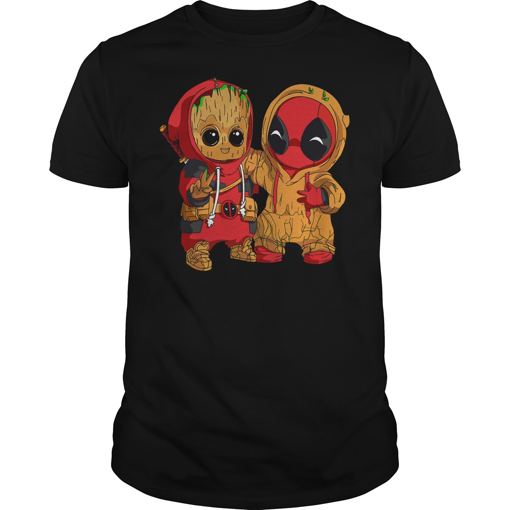 Deadpool and baby Groot Guys shirt