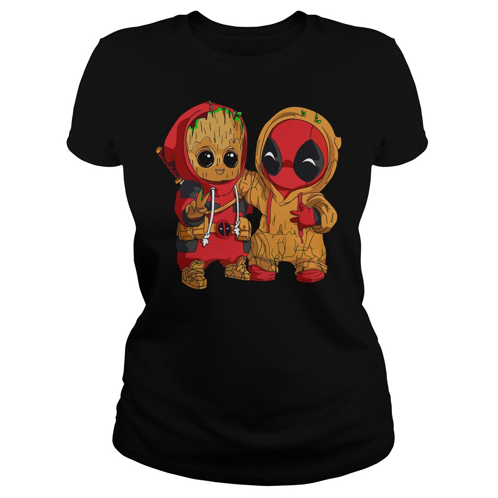 Deadpool and baby Groot Ladies tee