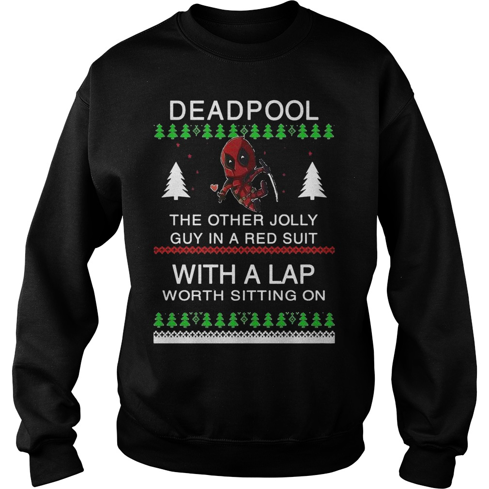 Deadpool the other Jolly guy in a red suit with a lap worth sitting on sweater