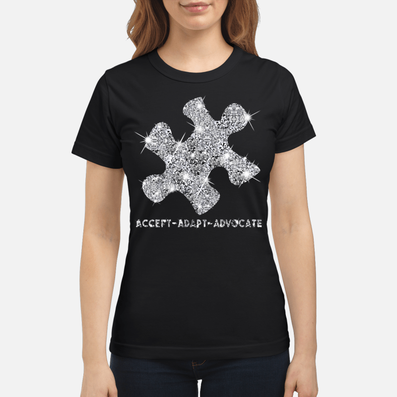 Diamond glitter puzzle Autism Accept Adapt Advocate Ladies tee