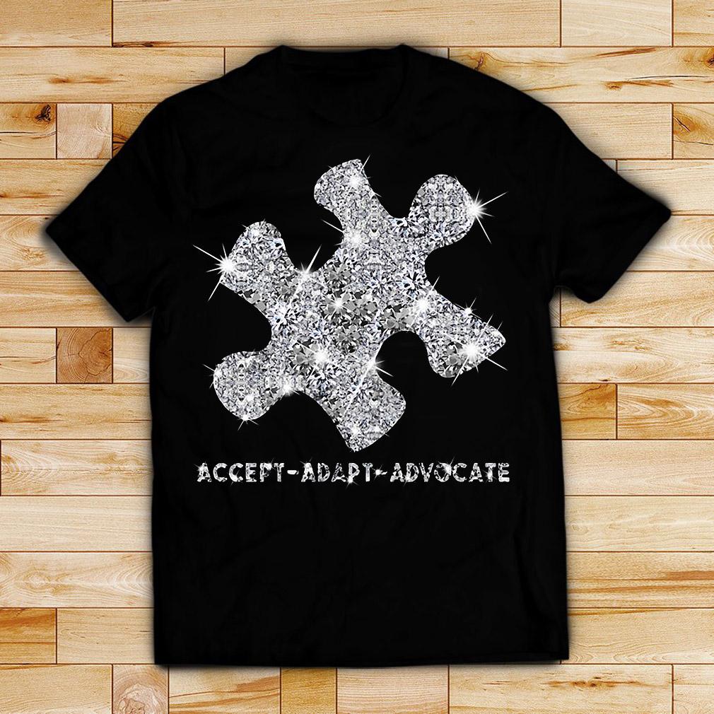 Diamond glitter puzzle Autism Accept Adapt Advocate shirt