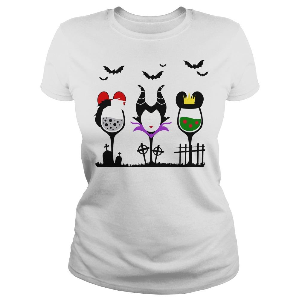 Disney Villains Cruella de Vil Maleficent Evil Queen wine Halloween Ladies tee
