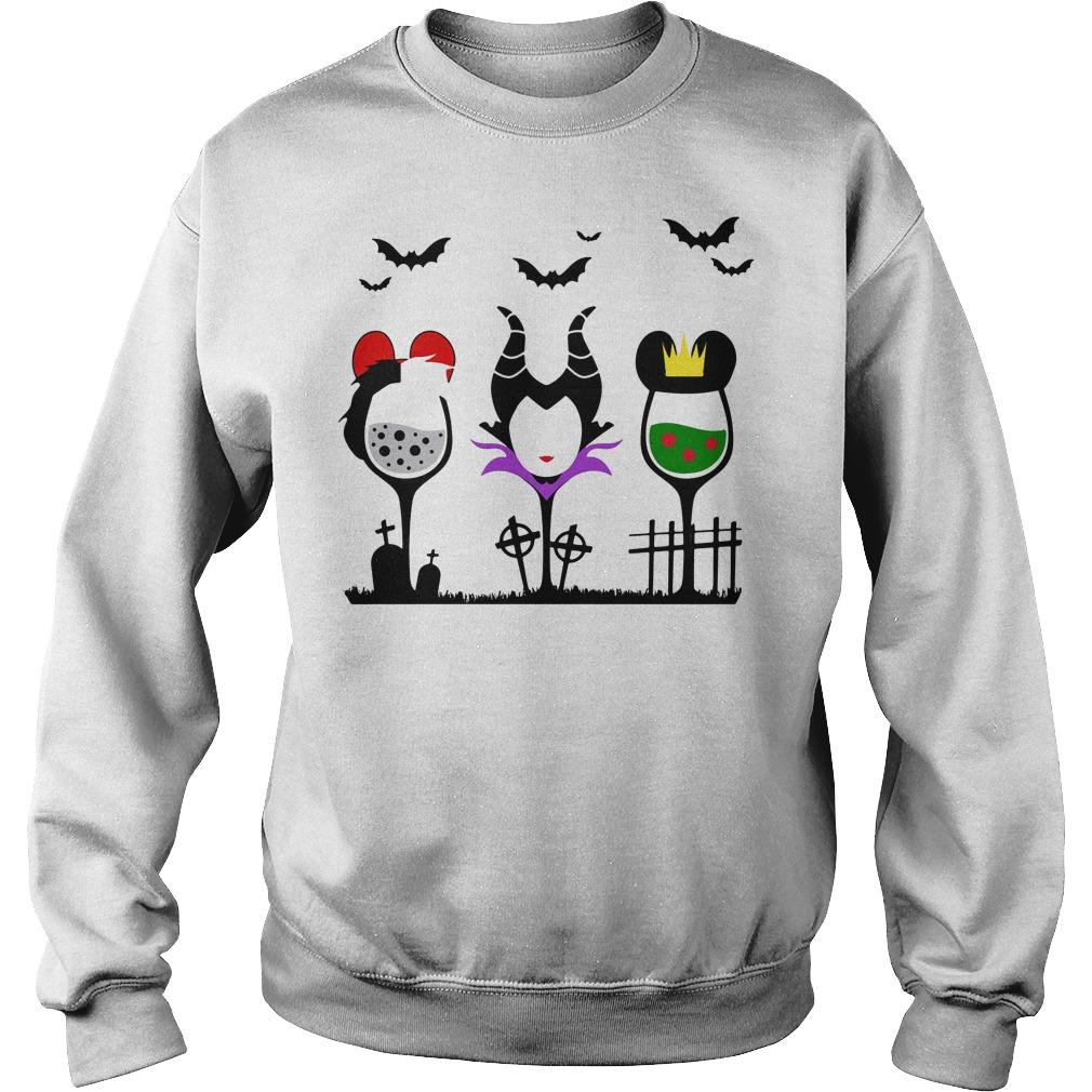 Disney Villains Cruella de Vil Maleficent Evil Queen wine Halloween Sweater